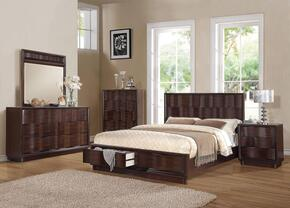 20520Q5PCSET Travell Queen Size Bed + Dresser + Mirror + Chest + Nightstand in Walnut Finish