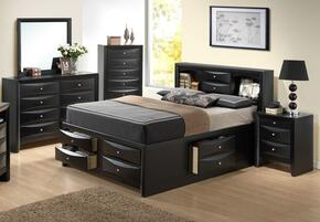 G1500GTSB3DMN 4 Piece Set including Twin Size Bed, Dresser, Mirror and Nightstand in Black