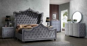 Hudson HUDSONCANOPYQSET 6 PC Bedroom Set with Queen Size Canopy Bed + Dresser + Mirror + Chest + 2 Nightstands in Grey Color