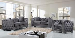 Reese Collection 648-GRY-S-L-C 3 Piece Living Room Set with Sofa + Loveseat and Chair in Grey