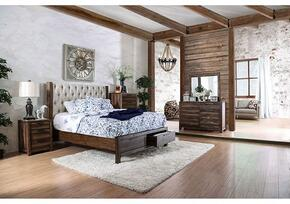 Hutchinson Collection CM7577KSBDMCN 5-Piece Bedroom Set with King Storage Bed, Dresser, Mirror, Chest and Nightstand in Rustic Natural Tone Finish