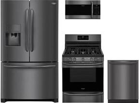 "4-Piece Kitchen Package FGHF2367TD 36"" French Door Refrigerator  FGGF3036TD 30"" Gas Freestanding Range, FGMV176NTD 30"" Over The Range Microwave oven and FGID2466QD 24"" Built in Dishwasher in Black Stainless Steel"