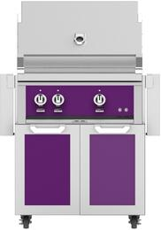 "30"" Freestanding Natural Gas Grill with GCD30PP Tower Grill Cart with Two Doors, in Lush Purple"