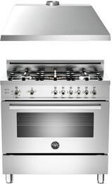 "2-Piece Stainless Steel Kitchen Package with PRO365GASXLP 36"" Liquid Propane Freestanding Range and KU36PRO1XV 36"" Wall Mount Range Hood"