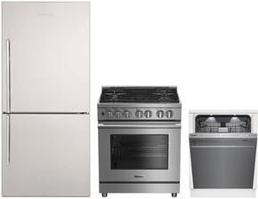 "3-Piece Kitchen Package with BRFB1822SSN 30"" Bottom Freezer Refrigerator, BDFP34550SS 30"" Freestanding Dual Fuel Range, and DWT59500SS 24"" Built In Fully Integrated Dishwasher in Stainless Steel"