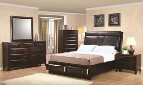 Phoenix 200419QSET 5 PC Bedroom Set with Queen Size Platform Bed + Dresser + Mirror + Chest + Nightstand in Cappuccino Finish