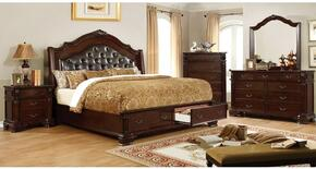 Edinburgh Collection CM7672CKSBDMCN 5-Piece Bedroom Set with California King Storage Bed, Dresser, Mirror, Chest and Nightstand in Brown Cherry Finish