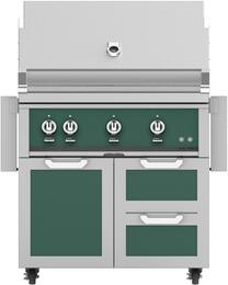 """36"""" Freestanding Natural Gas Grill with GCR36GR Tower Grill Cart with Three Doors, in Grove Green"""