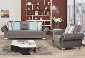 Imperial Comfort ICSBACGY Package Including Sofabed and Convertible Armchair with Matching Pillows, Tapered Polished Metal Feet and Button Tufted Detailing in Lyon Gray