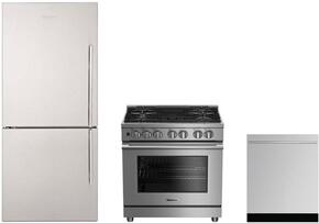 "3-Piece Kitchen Package with BRFB1812SSLN 30"" Counter Depth Bottom Freezer Refrigerator, BGRP34520SS 30"" Freestanding Gas Range, and a free DW55502SS 24"" Built In Fully Integrated Dishwasher in Stainless Steel"