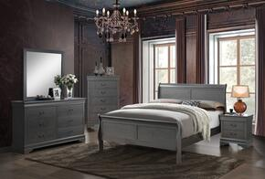 Louis Philippe III Collection CM7866GYEKBEDSET 5 PC Bedroom Set with Eastern King Size Sleigh Bed + Dresser + Mirror + Chest + Nightstand in Grey Finish