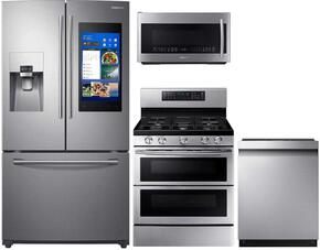 "4-Piece Stainless Steel Kitchen Package with RF265BEAESR 36"" French Door Refrigerator, NX58M6850SS 30"" Gas Range, DW80M9550US 24"" Fully Integrated Dishwasher and ME21K7010DS 30"" Over-the-Range Microwave"