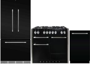 "3-Piece Black Kitchen Package with MMCFDR23BLK 36"" French Door Refrigerator, AMC48DFBLK 48"" Freestanding Dual Fuel Range, and AMCTTDWBLK 24"" Fully Integrated Dishwasher"