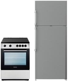 "2 Piece Kitchen Package With BERU24200SS 24"" Electric Freestanding Range and BRFT1522SS 36"" Top Freezer Refrigerator In Stainless Steel"