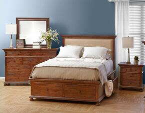 Geneva Hills Collection 680QPBDMN 4-Piece Bedroom Set with Queen Bed, Dresser, Mirror and Nightstand in Rich Brown