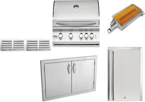 "8-Piece Stainless Steel Outdoor Package with SIZ32NG 32"" Natural Gas Grill, Outdoor Refrigerator, Side Burner, Double Access Door, Grill Cover, Trim Kit, and Island Vents"