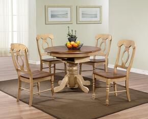 Brook Collection DLU-BR4260-C50-PW5PC 5 Piece Round or Oval Butterfly Leaf Dining Set with Napoleon Chairs