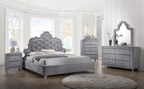 Sophie Collection SOPHIEKPBDMNC 5-Piece Bedroom Set with King Panel Bed, Dresser, Mirror, Single Nightstand and Chest in Grey
