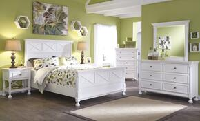Kaslyn Queen Bedroom Set with Panel Bed, Dresser, Mirror and Nightstand in White