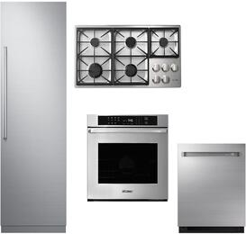 "4-Piece Stainless Steel Kitchen Package with DRR24980RAP 24"" All Refrigerator, DTCT466GSNGH 46"" Natural Gas Cooktop, RNWO230FS Double Wall Oven, and DDW24M999US 24"" Fully Integrated Dishwasher"