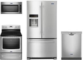 "4 Piece Kitchen Package With MER8700DS 30"" EletricRange, MMV4205FZ Over the Range Microwave Oven, MFI2570FEZ 36"" French Door Refrigerator and MDB4949SDZ 24"" Built In Dishwasher In Stainless Steel"
