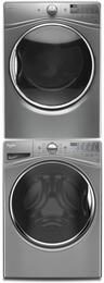 "Chrome Shadow Front Load Laundry Pair with WFW92HEFC 27"" Washer, WED92HEFC 27"" Electric Dryer and W10869845 Stacking Kit"