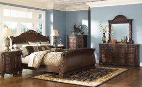 North Shore Collection Queen Bedroom Set with Sleigh Bed, Dresser and Mirror in Dark Brown