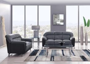 U9102 - DGR(MX09)/BL - SL 2-Piece Living Room Set with Sofa and Loveseat in Dark Grey and Black