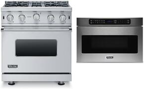 "2-Piece Stainless Steel Kitchen Package with VGIC53014BSS 30"" Freestanding Gas Range, and VMOD5240SS 24"" Undercounter DrawerMicro Oven"
