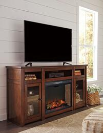 Harpan Collection W797-68F21 2-Piece Set with TV Stand and W100-21 Fireplace Insert in Reddish Brown