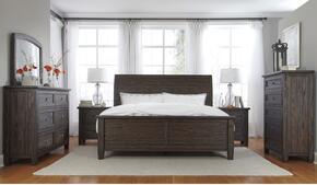 Trudell Queen Bedroom Set with Panel Bed, Dresser, Mirror, 2 Nightstands and Chest in Dark Brown