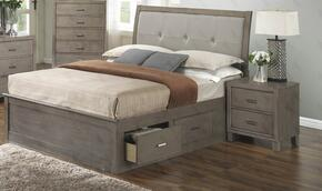 G1205BQSBN 2 Piece Set including Queen Storage Bed and Nightstand in Gray