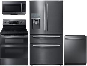 "4-Piece Black Stainless Steel Kitchen Package with RF28JBEDBSG 36"" French Door Refrigerator, NE59J7630SG 30"" Freestanding Electric Range, DW80J7550UG 24"" Fully Integrated Dishwasher and ME18H704SFG 30"" Over The Range Microwave"