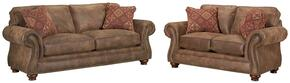 Laramie 5081SL/7591-85/5763-85 2-Piece Living Room Set with Sofa and Loveseat in 7591-85 Brown with 5763-85 Pillows