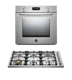 "Professional 2-Piece Stainless Steel Kitchen Package with F30PROXE 30"" Single Electric Wall Oven and DB36600X 36"" Gas Cooktop"