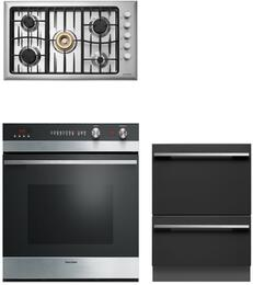 "Fisher Paykel 3 piece kitchen package 30"" Total Capacity Electric Single Wall Oven with 36"" Gas Sealed Burner Style Cooktop CG365DWLPACX2 and 24"" Semi-Integrated Dishwasher DD24DCTW7"