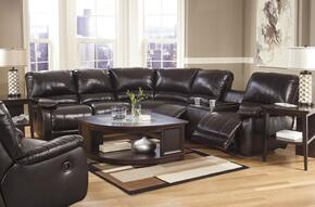 Capote DuraBlend 44500SETR 2-Piece Living Room Set with Right Loveseat Sectional Sofa and Swivel Glider Recliner in Chocolate