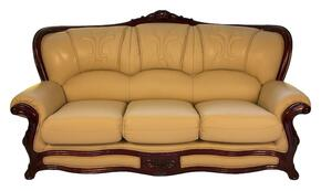 989IVORYS3SET Traditional Style Sofa in Ivory with Mahgany Wood Finish + Loveseat + Chair