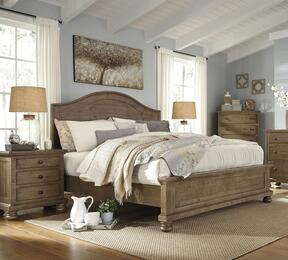 Trishley Queen Bedroom Set with Panel Bed, and Nightstand in Light Brown
