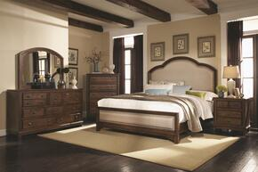 Laughton Collection 203261QSET 5 PC Bedroom Set with Queen Size Bed + Dresser + Mirror + Chest + Nightstand in Rustic Brown Finish