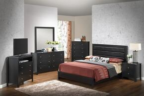 Aries Collection G2450AKBSET 6 PC Bedroom Set with King Size Panel Bed + Dresser + Mirror + Chest + Nightstand + Media Chest in Black Finish