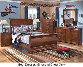Wilmington Full Bedroom Set with Sleigh Bed, Dresser, Mirror and Chest in Reddish Brown