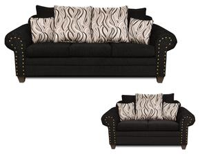 293575SL Amanda Sofa + Loveseat with Jazzy Granite Toss Pillows, Solid Kiln Dried Hardwoods, Zippered Cushions, No Sag Steel Springs and Sewn Pillows in Delray Black