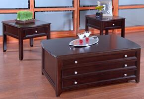 30700CEE Ventura 3 Piece Living Room Table Set with Cocktail Table and Two End Tables, in Black Cherry