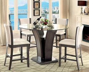 Manhattan III Collection CM3710GYPT4SC 5-Piece Dining Room Set with Round Counter Height Table and 4 Counter Height Side Chairs in Grey
