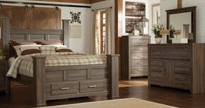 Juararo King Bedroom Set with Poster Storage Bed, Dresser and Mirror in Dark Brown