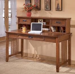Cross Island H3194448SET Home Office Desk Set with Large Leg Desk and Short Hutch in Medium Brown Finish