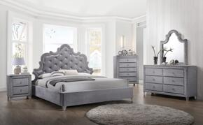 Sophie Collection SOPHIEQPBDMN 4-Piece Bedroom Set with Queen Panel Bed, Dresser, Mirror and Single Nightstand in Grey