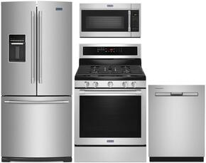 "4-Piece Kitchen Package with MFW2055FRZ 30"" French Door Refrigerator, MGR8800FZ 30"" Gas Freestanding Range, MDB8959SFZ 24"" Built in Dishwasher and MMV4206FZ 30"" Over The Range Microwave oven in Stainless Steel"