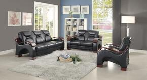 G483SET 3 PC Living Room Set with Sofa + Loveseat + Armchair in Black Color